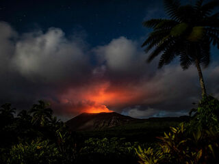 Active volcano Mount Yasur in the night on Tanna Island.